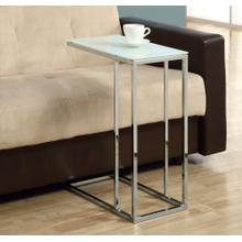 ACCENT TABLE - CHROME METAL WITH FROSTED TEMPERED GLASS