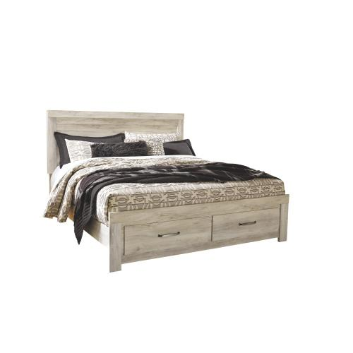 King Platform Bed With 2 Storage Drawers With Mirrored Dresser and Chest
