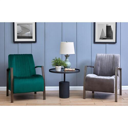 Product Image - Bernard Velvet Fabric Accent Arm Chair Silver Frame, Gravel Gray