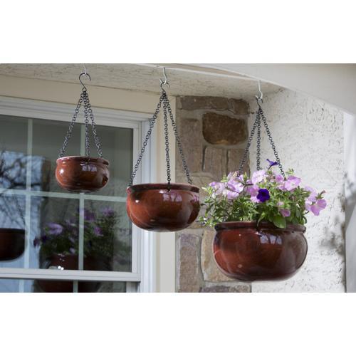 Hanging Plntr w/blk chain-Set of 3-2 sets/ctn