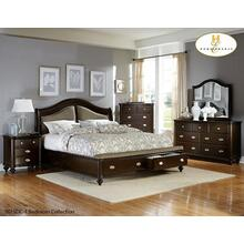King Sleigh Platform Bed with Footboard Storage