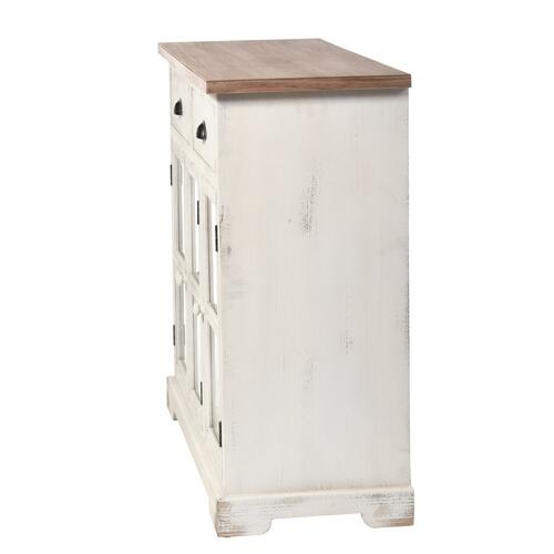 Shabby Chic Three Door Two Drawer Cabinet With Window Pane Tempered Clear Glass Door Panels. Made