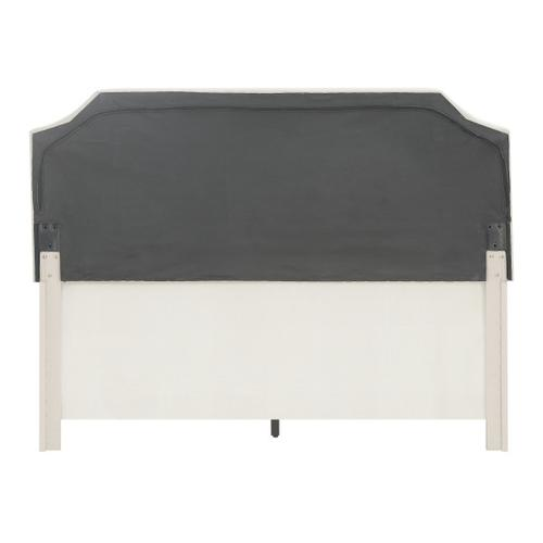 Clipped Corner Full Upholstered Bed in Light Gray