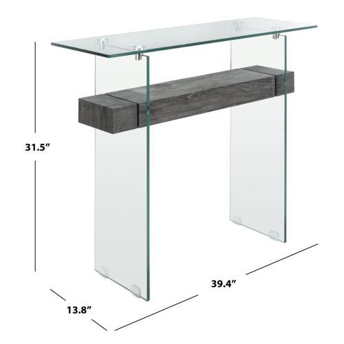 Safavieh - Kayley Console Table - Glass / Black Oak Shelf