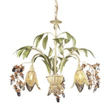Huarco 3-Light Chandelier in Seashell and Sage Green with Floral-shaped Glass