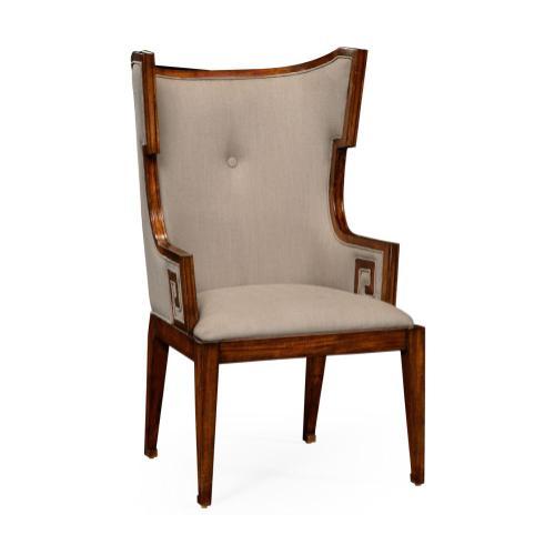 Greek key design Biedermeier walnut armchair