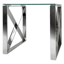X End Table Stainless Steel Frame Tempered Glass Top Modern Living Room Wholesale