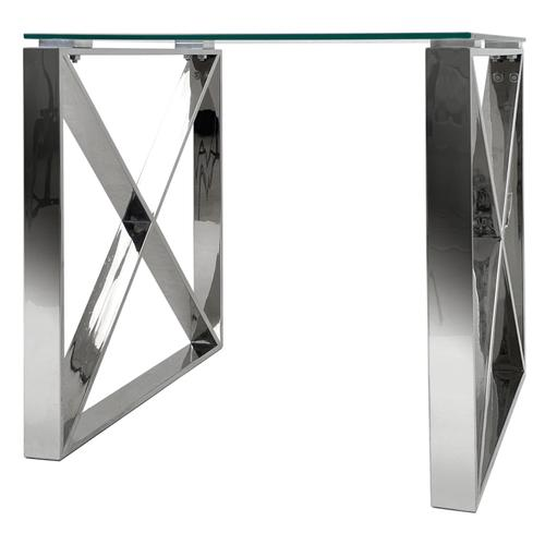 Grako Design - X End Table Stainless Steel Frame Tempered Glass Top Modern Living Room Wholesale