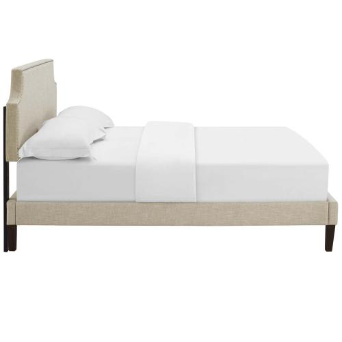 Modway - Corene Twin Fabric Platform Bed with Squared Tapered Legs in Beige