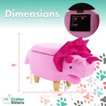 See Details - Critter Sitters 15-In. Seat Height Pink Triceratops Dino Shape Storage Ottoman Furniture for Nursery, Bedroom, Playroom, Living Room Decor, CSDNOSTOTT-PNK