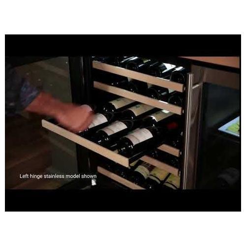 Marvel - 24-In Built-In High Efficiency Single Zone Wine Refrigerator with Door Style - Black Frame Glass, Door Swing - Left