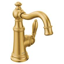 Weymouth brushed gold one-handle bathroom faucet