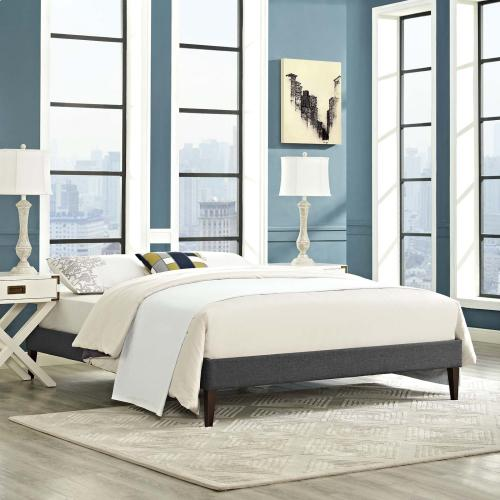 Tessie King Fabric Bed Frame with Squared Tapered Legs in Gray