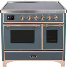 See Details - Majestic II 40 Inch Electric Freestanding Range in Blue Grey with Copper Trim