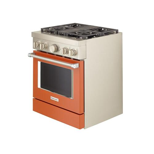 KitchenAid® 30'' Smart Commercial-Style Dual Fuel Range with 4 Burners - Scorched Orange