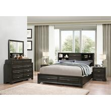 Loiret Antique Grey Finish Wood Bed Room Set, QUEEN & KING Storage Bed, Dresser, Mirror, 2 Night Stands, King