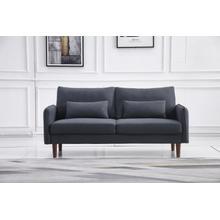 See Details - 8153 BLACK Linen Stationary Basic Sofa