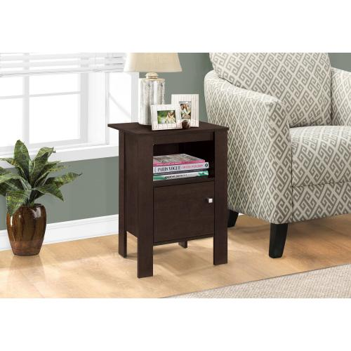 ACCENT TABLE - ESPRESSO NIGHT STAND WITH STORAGE