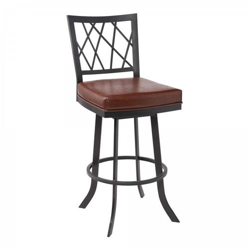 "Giselle Contemporary 30"" Bar Height Barstool in Matte Black Finish and Vintage Coffee Faux Leather"