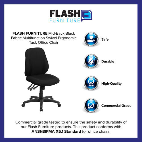 Gallery - Mid-Back Black Fabric Multifunction Swivel Ergonomic Task Office Chair