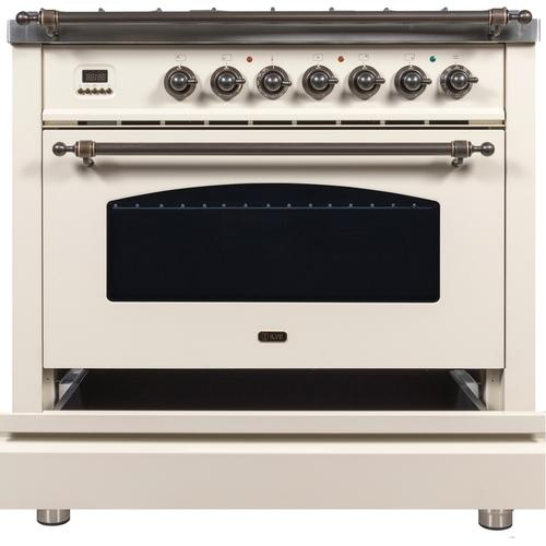 36 Inch Antique White Dual Fuel Liquid Propane Freestanding Range
