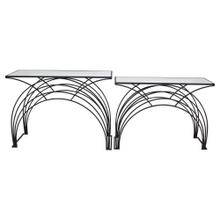 """S/2 Metal/marble 29/31"""" Arch Accent Tables, Black"""
