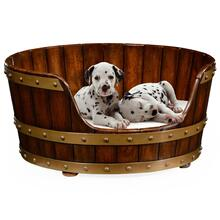 Walnut wooden dog bed 25""