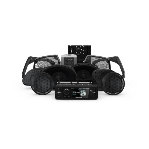 Rockford Fosgate - 1998-2013 Harley-Davidson® Road Glide® Ultra Source Unit, 6 Speaker & Amp Kit