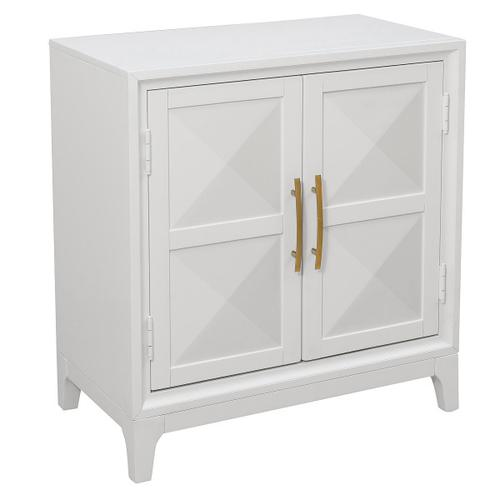 Two Door Geometric Front Accent Chest in Modern White