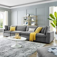 Commix Down Filled Overstuffed Performance Velvet 4-Seater Sofa in Gray