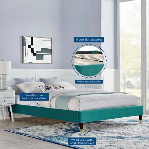 Harlow King Performance Velvet Platform Bed Frame in Teal