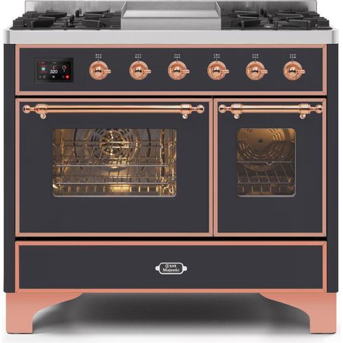 Ilve - Majestic II 40 Inch Dual Fuel Liquid Propane Freestanding Range in Matte Graphite with Copper Trim