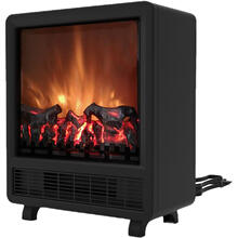 See Details - 17.8-In Freestanding 4606 BTU Electric Fireplace with Wood Log Insert, CAM14FSFP-1BLK