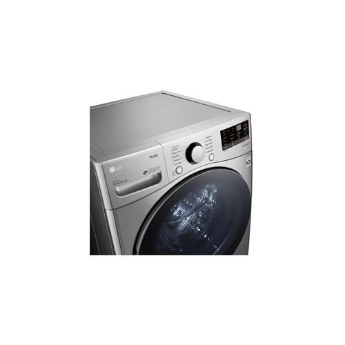 LG - 4.5 cu. ft. Ultra Large Capacity Smart wi-fi Enabled Front Load Washer with Built-In Intelligence & Steam Technology