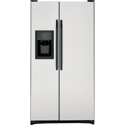 GE® ENERGY STAR® 25.0 Cu. Ft. CleanSteel Side-By-Side Refrigerator with Dispenser  (This is a Stock Photo, actual unit (s) appearance may contain cosmetic blemishes. Please call store if you would like actual pictures). REBATE NOT VALID with this item.