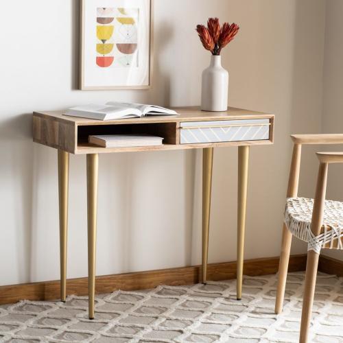 Leni Desk - Natural / Cement / Brass