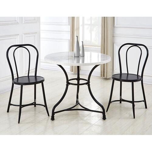 Claire 3 Piece Marble Top Bistro Dining(Table & 2 Side Chairs)