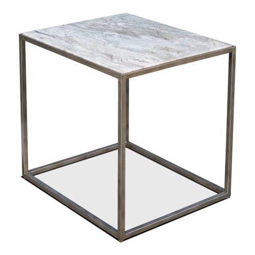"""Cube Side Table Marble Top 26"""" High"""