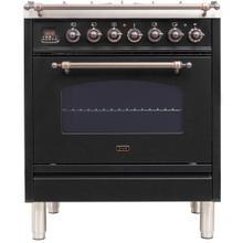 See Details - Nostalgie 30 Inch Dual Fuel Natural Gas Freestanding Range in Matte Graphite with Bronze Trim