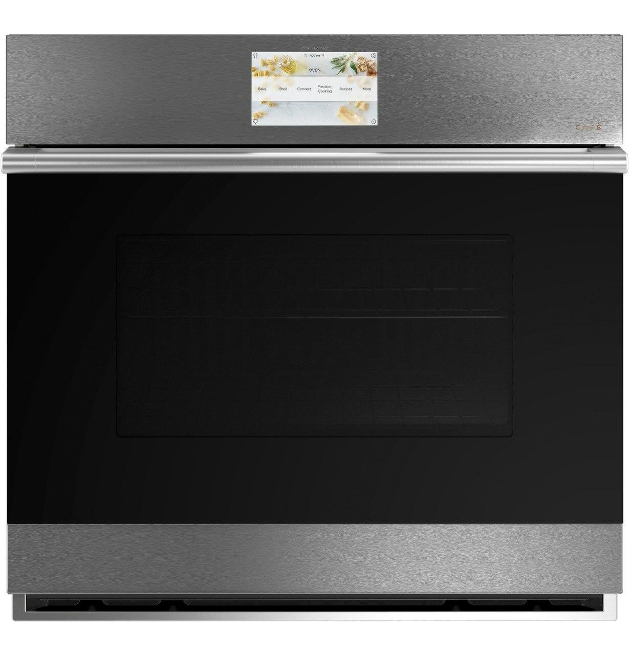 """CafeCafé™ 30"""" Smart Single Wall Oven With Convection In Platinum Glass"""