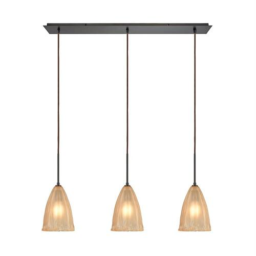 Calipsa 3-Light Linear Mini Pendant Fixture in Oiled Bronze with Light Amber Frosted Glass
