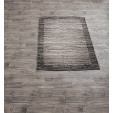 Grey & Natural Lines with Dots Pattern 4' x 6' Rug