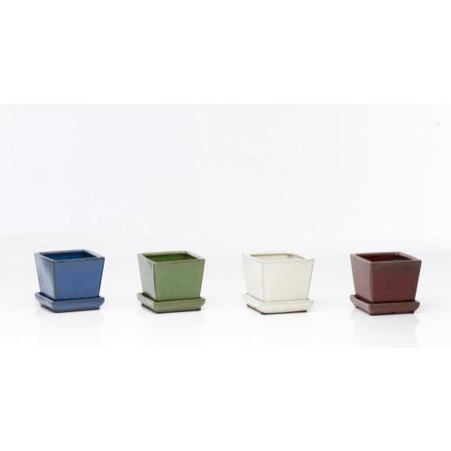 """Marianne 4"""" Square Petits Pots w/ att saucer Assortment (4 colors, 8 each)"""