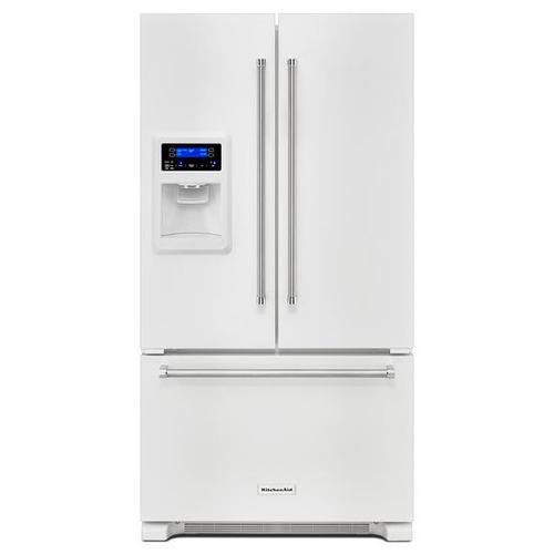 KitchenAid - KitchenAid® 20 cu. Ft. 36-Inch Width Counter Depth French Door Refrigerator with Exterior Ice and Water - White