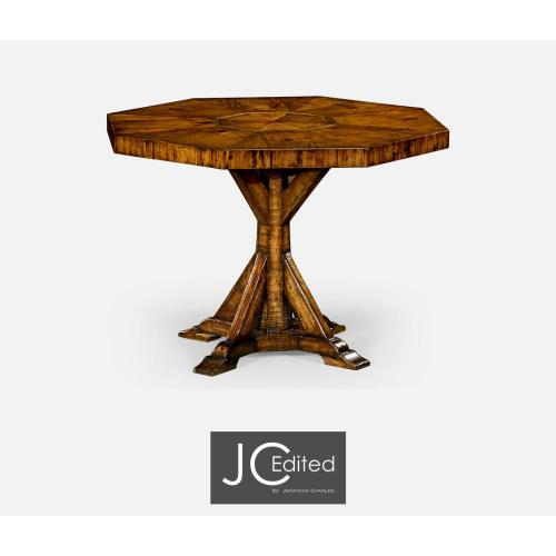 Country walnut octagonal centre or dining table