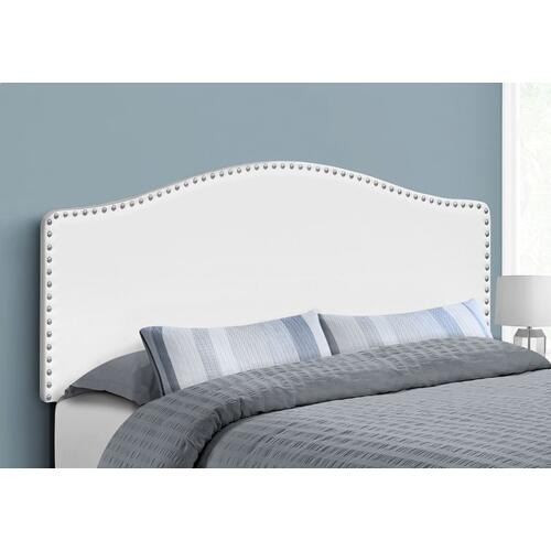 BED - QUEEN SIZE / WHITE LEATHER-LOOK HEADBOARD ONLY