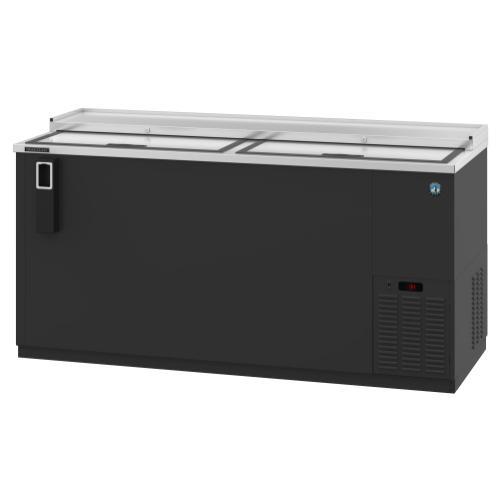 HBC-65, Refrigerator, Two Section, Black Vinyl Back Bar Bottle Cooler, Slide Top Doors