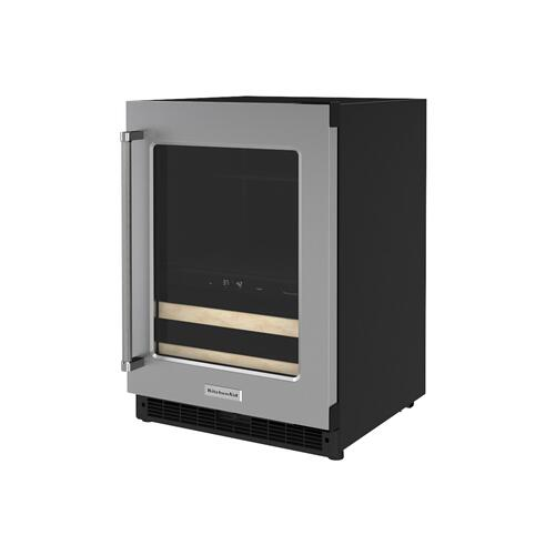 """KitchenAid Canada - 24"""" Panel-Ready Beverage Center with Wood-Front Racks - Black Cabinet/Stainless Doors"""