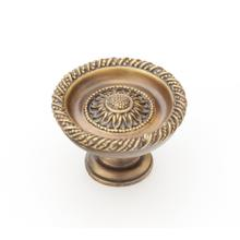 "Solid Brass, Symphony, Sunflower, Round Knob, 1-3/4"" diameter, Estate Dover finish"