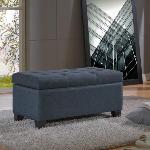 Sarah Rectangular Storage Ottoman in Grey-Blue